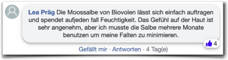 Biovolen Moossalbe Bewertungen facebook