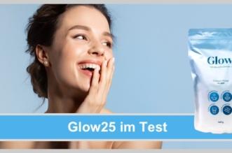 Glow25 im Test: Frau freut sich über ihr strahlendes Aussehen, keine Falten, Kollagen Pulver