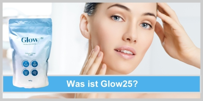 Was ist Glow25: Frau freut sich über ihr strahlendes Aussehen, keine Falten, Kollagen Pulver, glatte strahlende Haut