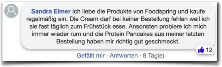 Foodspring Erfahrungen Bewertungen facebook